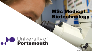 MSc Medical Biotechnology at University of Portsmouth